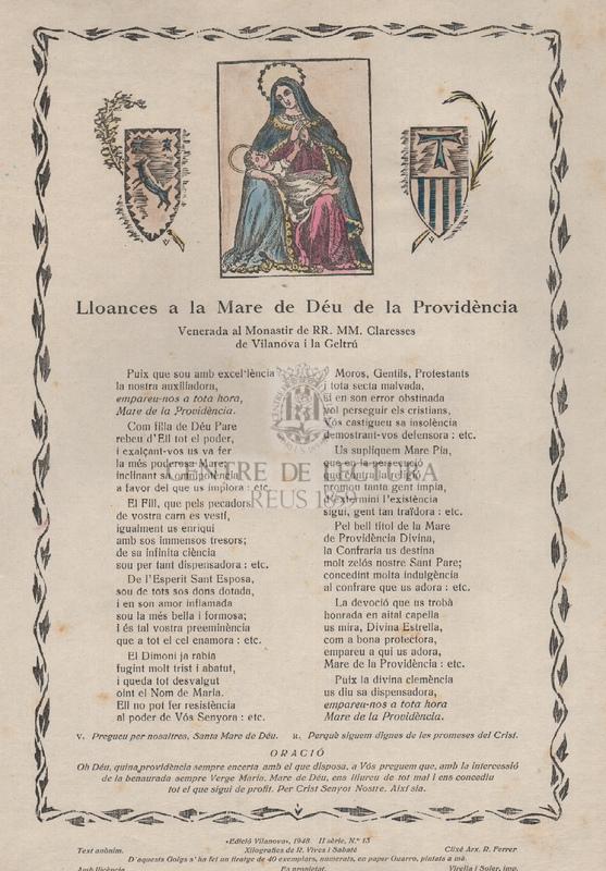 Lloances a la Mare de Déu de la Providència Venerada al Monestir de M.M. Claresses de Vilanova i la Geltrú