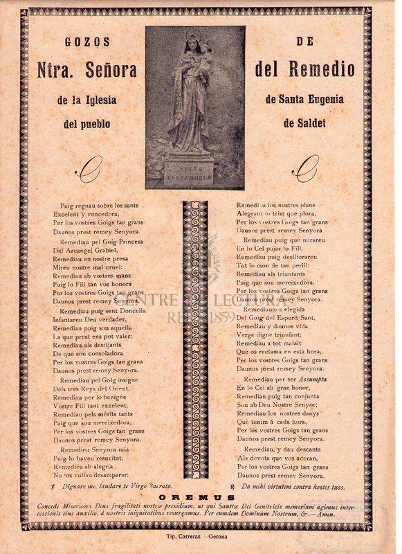Gozos de Ntra. Señora del Remedio de la Iglesia de Santa Eugenia del pueblo de Saldet