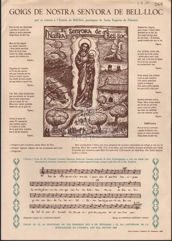 Goigs de Nostra Senyora de Bell-lloc que es venera a l'Ermita de Bell-lloc, parròquia de Santa Eugènia de Palamós