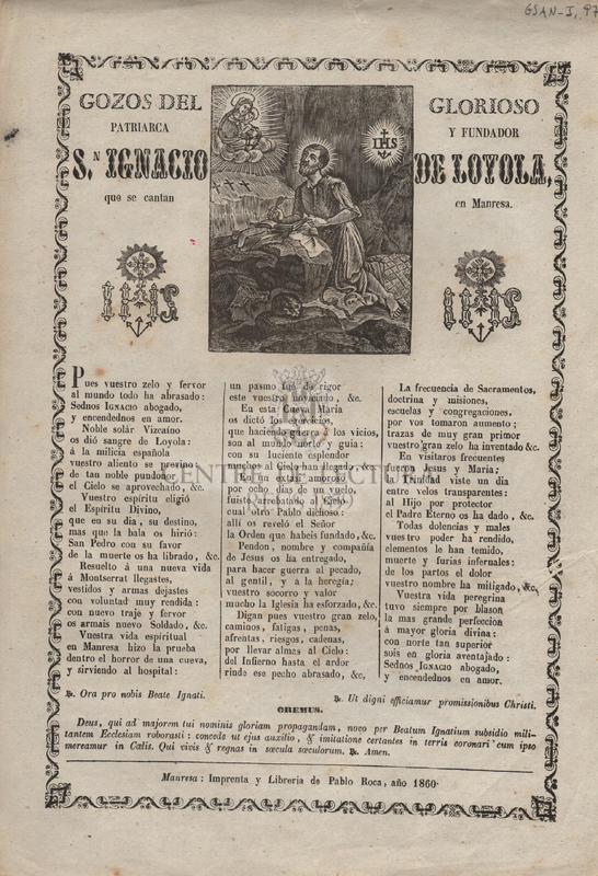Gozos del glorioso patriarca y fundador S,n Ignacio de Loyola, que se cantan en Manresa
