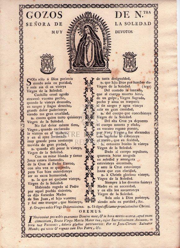 Gozos de Ntra. Señora de la Soledad muy devotos