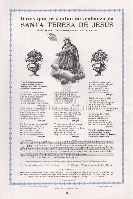 Gozos que se cantan en alabanza de Santa Teresa de Jesús venerada en el templo parroquial de la Villa de Batea