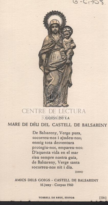 Goigs de la Mare de Déu del Castell de Balsareny