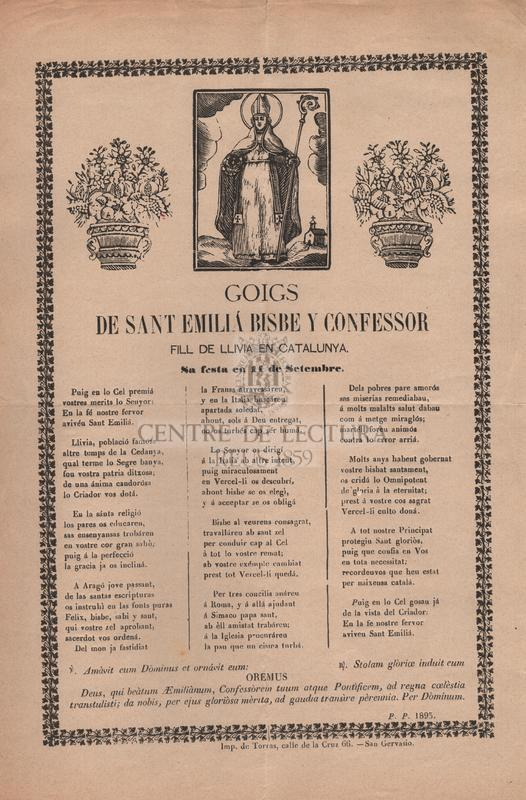 Goigs de Sant Emiliá bisbe y confessor, fill de Llívia en Catalunya. Sa festa en 11 de setembre