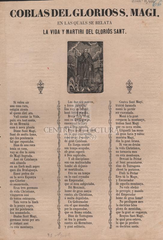 Coblas del glorios S. Magi. En las quals se relata la vida y martiri del gloriós Sant