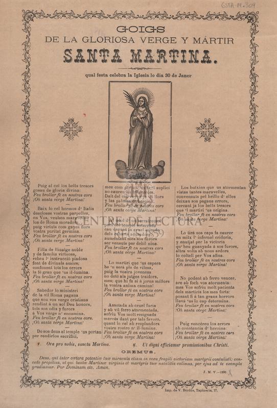 Goigs de la gloriosa verge y mártir Santa Martina.  Qual festa celebra la Iglesia lo dia 30 de Janer