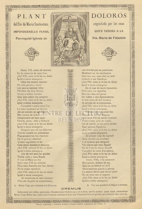 Plant dolorós del Cor de María Santíssima, angustiada per las suas imponderables penas, que's venera a la Parroquial Iglesia de Sta. María de Palamós