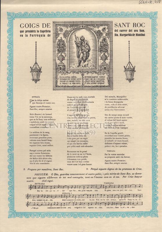 Goigs de Sant Roc que presideix la Capelleta del carrer del seu Nom, en la Parròquia de Sta. Margarida de Montbui