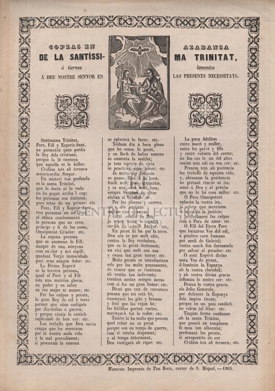 Coplas en alabansa de la Santíssima Trinitat, ó tiernos lamentos á Deu nostre Senyor en les presents necessitats