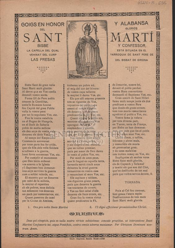 Goigs en honor y alabansa del gloriós Sant Martí Bisbe y Confessor, la capella del qual está situada en el vehinat del Corp, parròquia de Sant Pere de Las Presas, del Bisbat de Girona