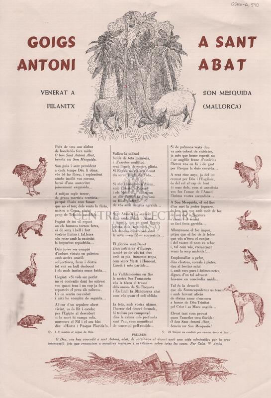 Goigs a Sant Antoni Abat venerat a son Mesquida Felanitx (Mallorca).