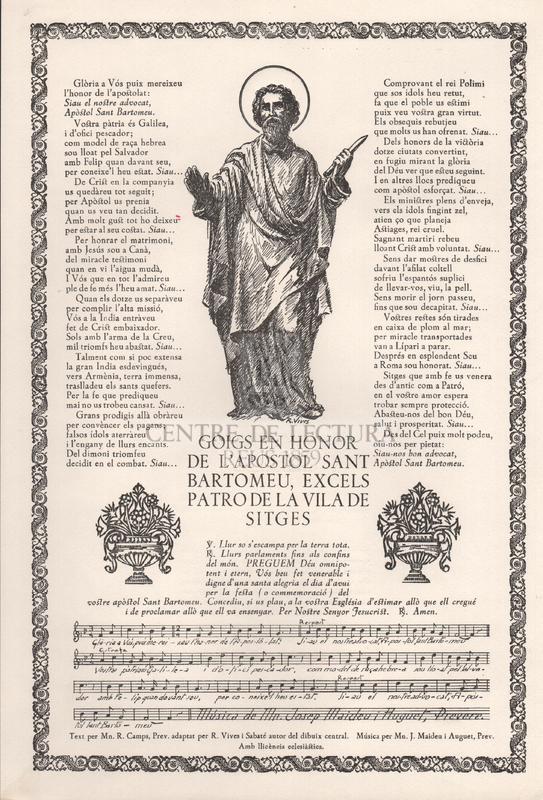 Goigs en honor de l'apostol Sant Bartomeu, excels patro de la vila de Sitges