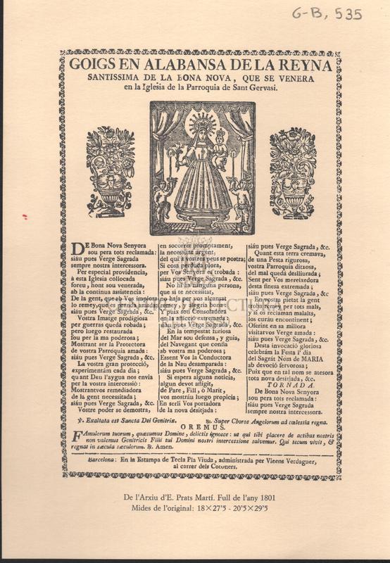 Goigs en alabansa de la Reyna santissima de la Bona Nova, que se venera en la Iglesia de Sant Gervasi