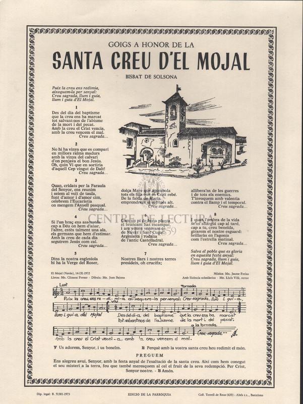 Goigs a honor de la Santa Creu d'El Mojal, Bisbat de Solsona.