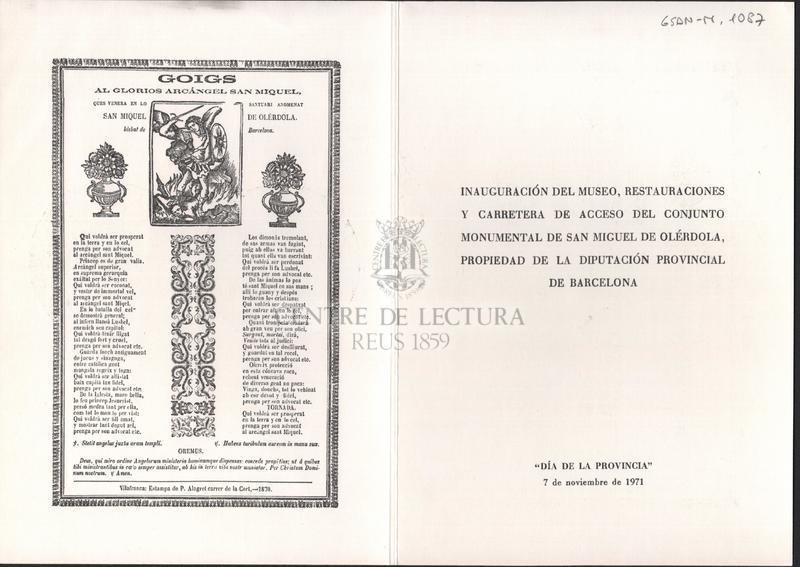 Goigs al glorios arcángel San Miquel ques venera en lo santuari anomenat San Miquel de Olérdola. Bisbat de Barcelona