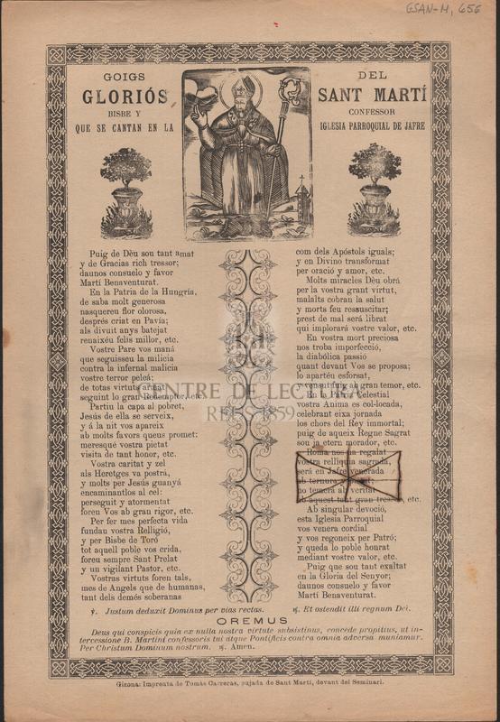 Goigs del gloriós Sant Martí Bisbe y Confessor que se cantan en la Iglesia Parroquial de Jafre