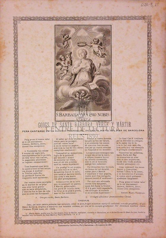 Goigs de Santa Bárbara, verge y mártir pera cantarse en la Iglesia parroquial de Santa María del Mar de Barcelona