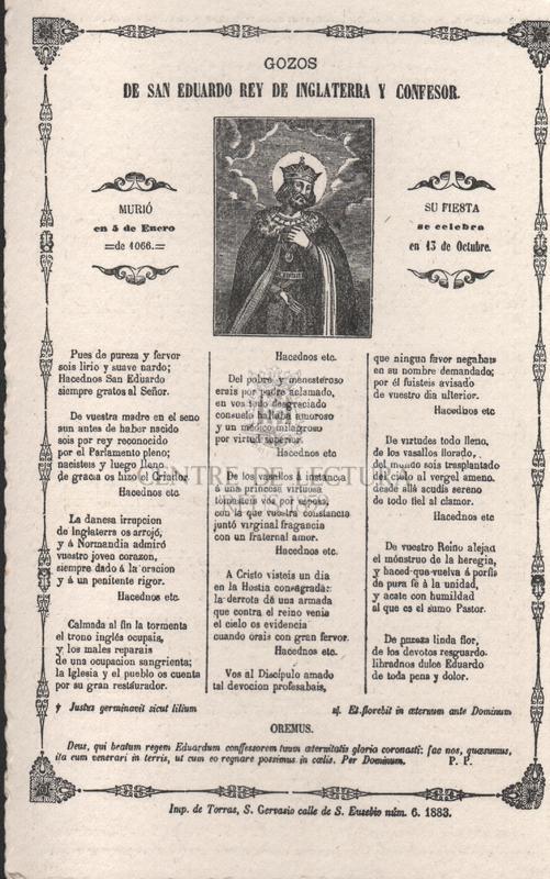 Gozos de San Eduardo Rey de Inglaterra y confesor