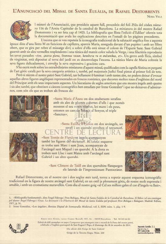 Goigs a llaor de l'Arcàngel Sant Gabriel, patró dels Amics dels Goigs, entitat fundada l'any 1922. La seva festa és el dia 29 de setembre