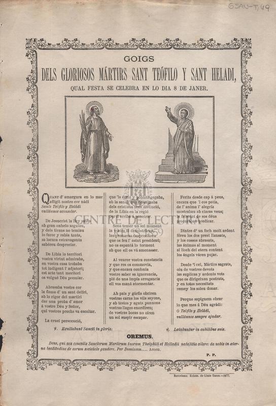Goigs dels gloriosos mártirs Sant Teófilo y Sant Heladi, qual festa se celebra en lo dia 8 de janer
