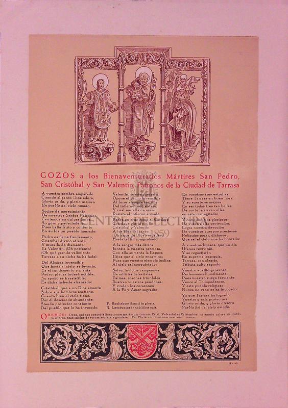 Gozos a los Bienaventurados Mártires San Pedro, San Cristóbal y San Valentín. Patronos de la Ciudad de Tarrasa