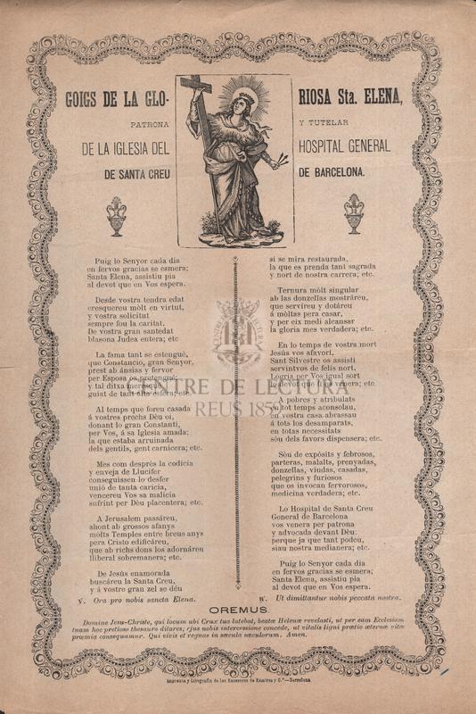 Goigs de la gloriosa Sta. Elena, patrona y tutelar de la iglesia del Hospital General de Santa Creu de Barcelona