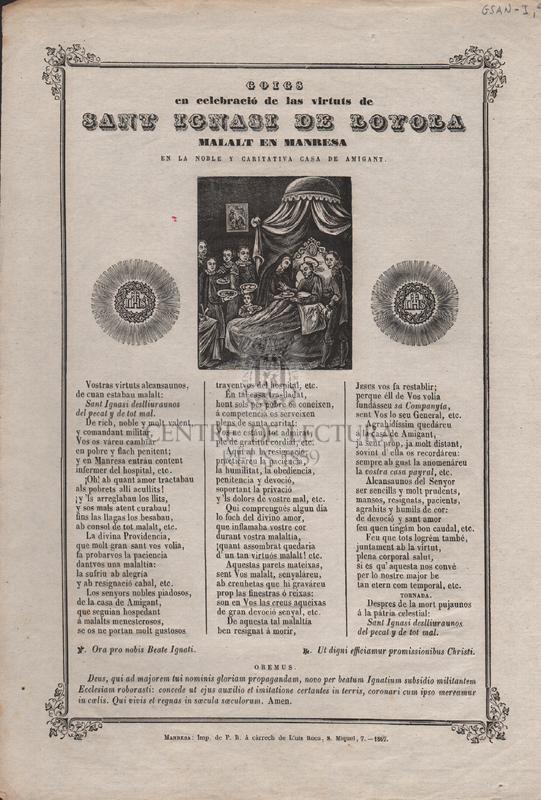 Goigs en celebració de las virtuts de Sant Ignasi de Loyola, malalt en Manresa en la noble y cartitativa casa de Amigant