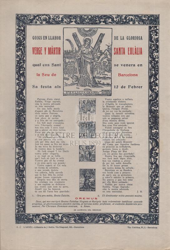 Goigs en llahor de la gloriosa verge y màrtir santa Eulàlia qual cos Sant se venera en la Seu de Barcelona, Sa festa als 12 de Febrer