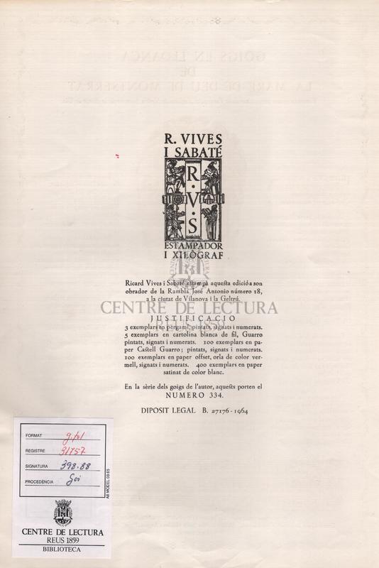 Goigs en lloança de la Mare de Deu de Montserrat venerada en son propi altar de la Parroquial Esgléisa de Nostra Senyora de la Pietat de Vic.