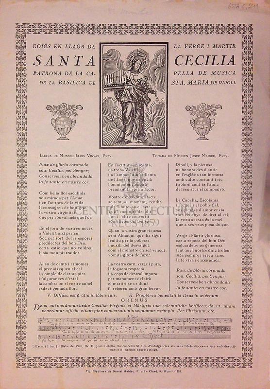 Goigs en llaor de la verge i martir Santa Cecilia Patrona de la capella de musica de la basilica de Sta. Maria de Ripoll
