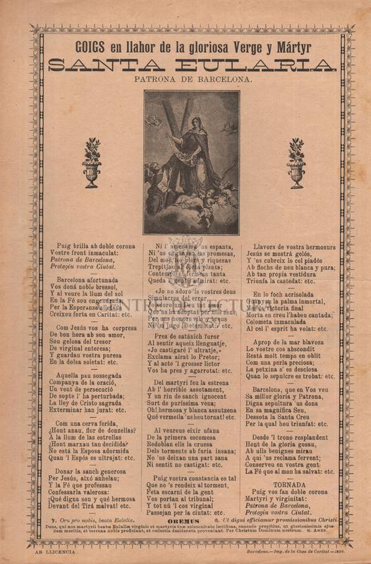 Goigs en llahor de la gloriosa Verge y Mártyr santa Eularia, patrona de Barcelona