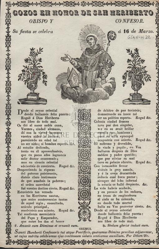 Gozos en honor de San Heriberto, obispo y confesor. Su fiesta se celebra á 16 de Marzo