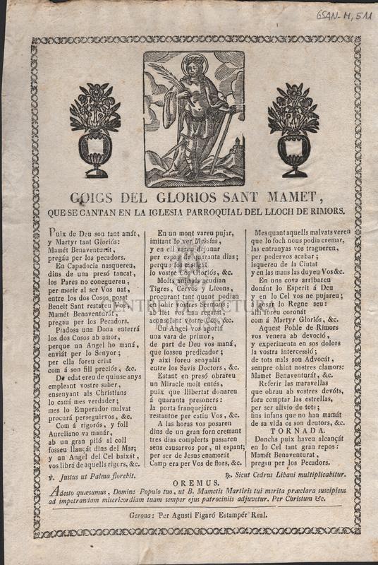 Goigs del glorios Sant Mamet, que se cantan en la iglesia parroquial del Lloch de Rimors