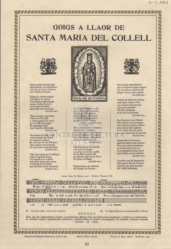 Goigs a llaor de Santa Maria del Collell.