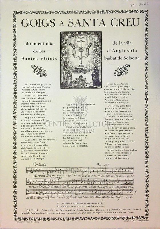 Goigs a Santa Creu altrament dita de les Santes Virtuts de la vila d'Anglesola bisbat de Solsona