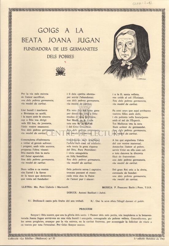 Goigs a la beata Joana Jugan fundadora de les germanetes dels pobres