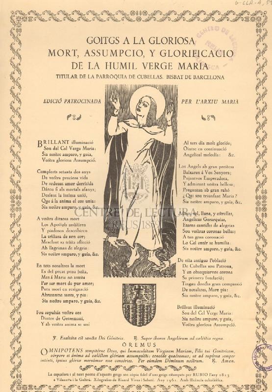 Goitgs a la gloriosa mort, assumpció, y glorificació de la humil Verge Maria titular de la Parroquia de Cubellas, Bisbat de Barcelona