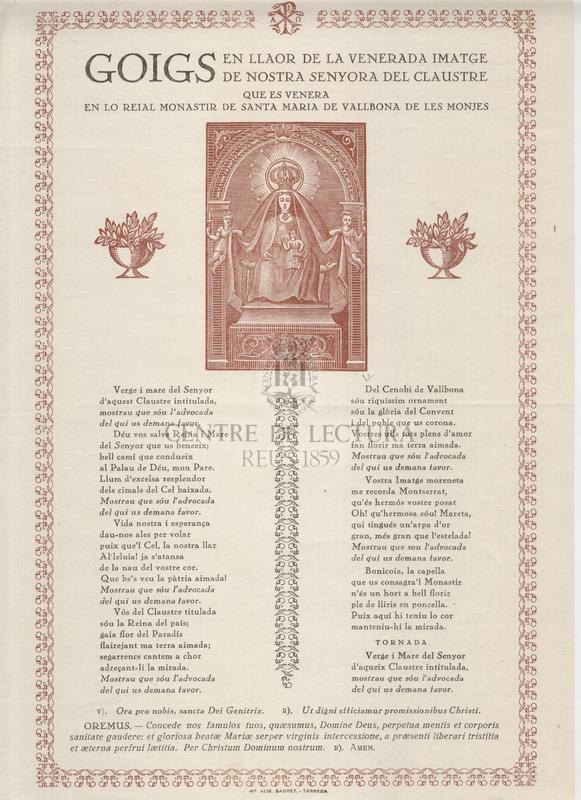 Goigs en llaor de la venerada imatge de Nostra Senyora del Claustre que es venera en lo Reial Monastir de Santa Maria de Vallbona de les Monjes