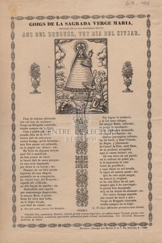 Goigs de la sagrada Verge María, venerada en la sua prodigiosa imatge ans del Brugués, vuy dia del sitjar