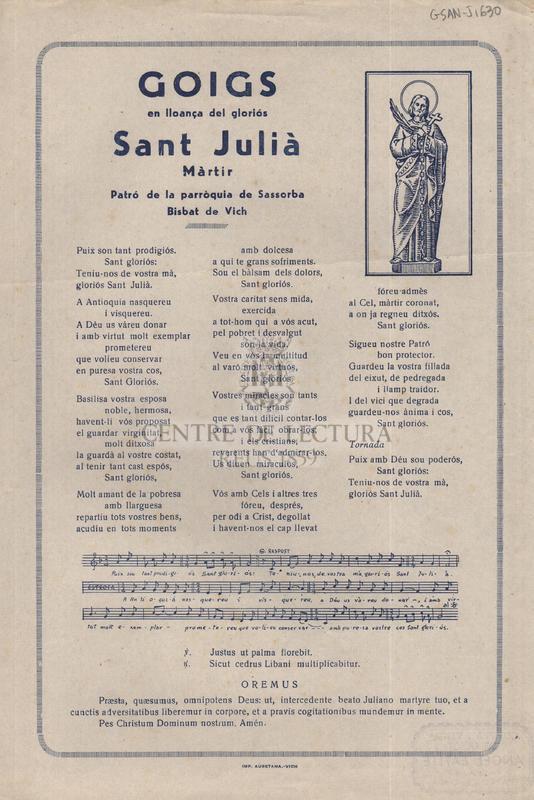 Goigs en lloança del gloriós Sant Julià Màrtir, Patró de la parròquia de Sassorba Bisbat de Vich