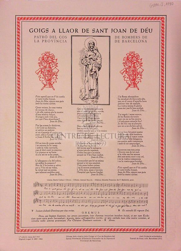 Goigs a llaor de sant Joan de Déu, patró del cos de bombers de la província de Barcelona