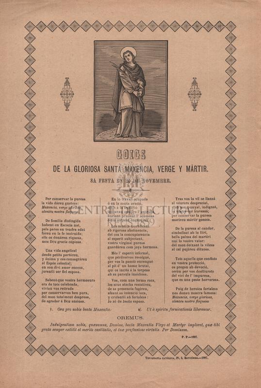 Goigs de la gloriosa santa Maxencia, verge y mártir, sa festa en 20 de novembre