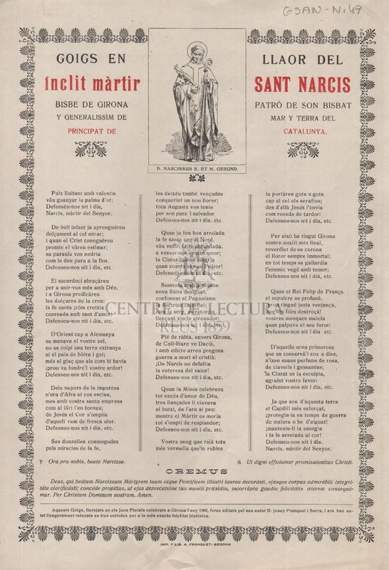 Goigs en llaor del ínclit mártir Sant Narcís, Bisbe de Girona, patró de son Bisbat y generalissim de Mar y tgerra del Principat de Catalunya