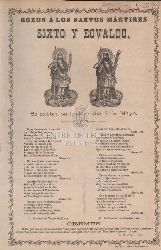 Gozos á los Santos mártires Sixto y Eovaldo