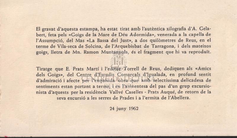 """Fragments dels Goigs de la Mare de Déu Adormida del Mas """"Bassa del Just""""."""