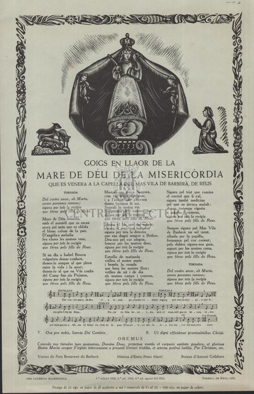 Goigs en llaor de la Mare de Déu de la Misericòrdia que es venera a la capella del Mas Vila de Barberà, de Reus