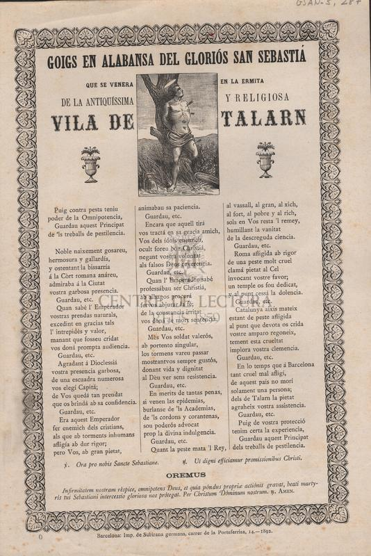 Goigs en alabansa del gloriós San Sebastiá que se venera en la ermita de la antiquíssima y religiosa vila de Talarn