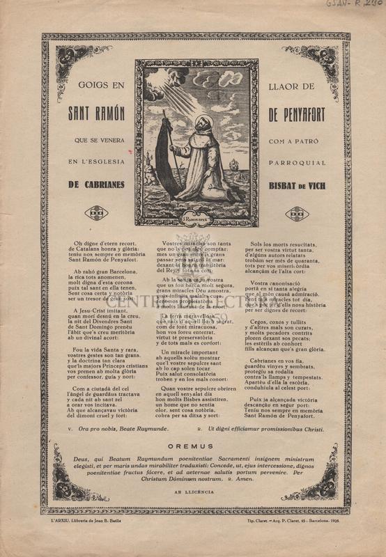 Goigs en llaor de Sant Ramón de Penyafort que se venera com a patró en l'Esglesia Parroquial de Cabrianes Bisbat de Vich