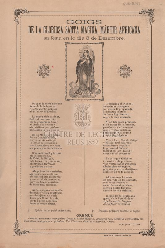 Goigs de la gloriosa Santa Magina, mártir africana sa festa en lo dia 3 de Desembre.