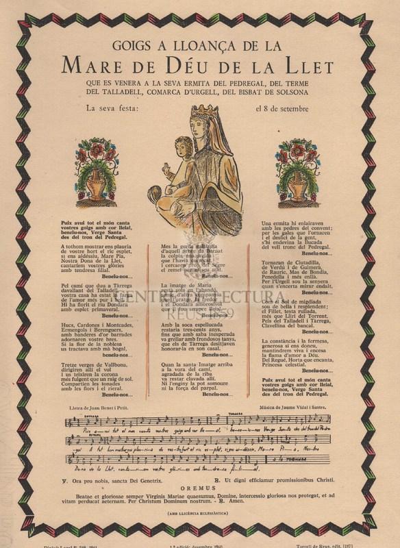 Goigs a lloança de la Mare de Déu de la Llet que es venera a la seva ermita de Pedregal, del terme del Talladel, comarca d'Urgell, del Bisbat de Solsona.